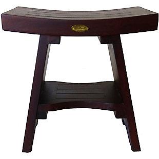 DecoTeak Serenity Teak Wood Shower Bench with Shelf, , rollover