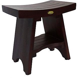 DecoTeak Serenity Teak Wood Shower Bench with Shelf, , large