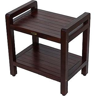 DecoTeak Eleganto Teak Wood Shower Bench with LiftAide Arms, , large