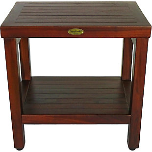 DecoTeak Eleganto Teak Wood Shower Bench with Shelf, , rollover
