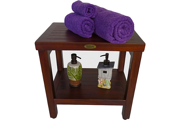 DecoTeak Eleganto Teak Wood Shower Bench with Shelf, , large
