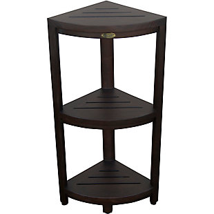 DecoTeak Oasis Teak Wood 3-Tier Corner Shelf, , rollover