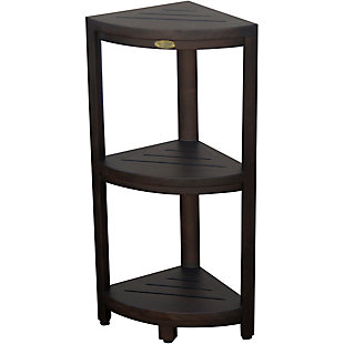 DecoTeak Oasis Teak Wood 3-Tier Corner Shelf, , large