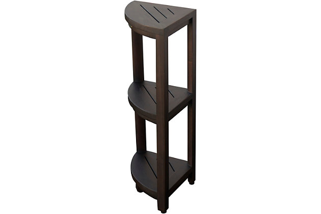 DecoTeak Oasis Teak Wood 3-Tier Corner Shelf, , large