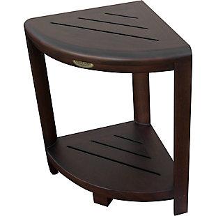 DecoTeak Oasis Teak Wood Corner Shower Bench with Shelf, , large
