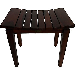 DecoTeak Sojourn Teak Wood Curved Shower Bench, , rollover