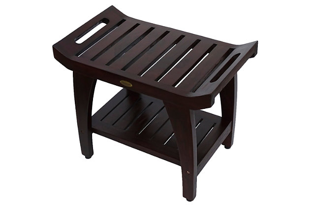 DecoTeak Tranquility Teak Wood Shower Bench with LiftAide Arms, , large