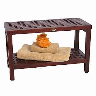 DecoTeak Espalier Teak Wood Shower Bench with Shelf, , rollover