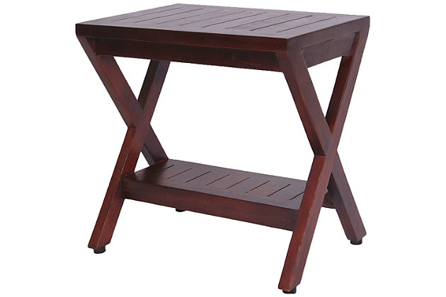 DecoTeak Obliquity Teak Wood Shower Bench with Shelf, , large