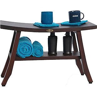 DecoTeak Satori Teak Wood Shower Bench with Shelf, , large