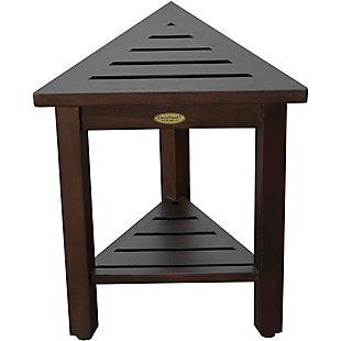 DecoTeak FlexiCorner Teak Wood Triangular Stool with Shelf, , large