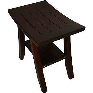 DecoTeak Satori Teak Wood Shower Bench with Shelf, , large