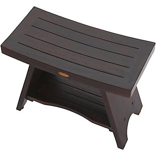 DecoTeak Serenity Teak Wood Shower Bench with Shelf, , rollover