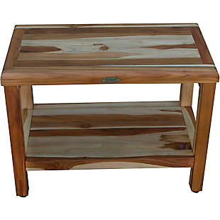 EcoDecors Eleganto Teak Wood Shower Bench with Shelf, , rollover