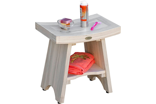 CoastalVogue Satori Teak Wood Shower Bench with Shelf, , large