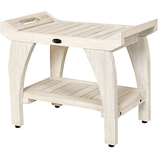 CoastalVogue Tranquility Teak Wood Shower Bench with LiftAide Arms, , large