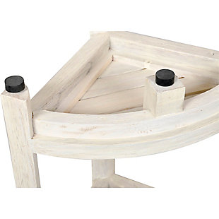 CoastalVogue Oasis Teak Wood Corner Shower Bench with Shelf, , large