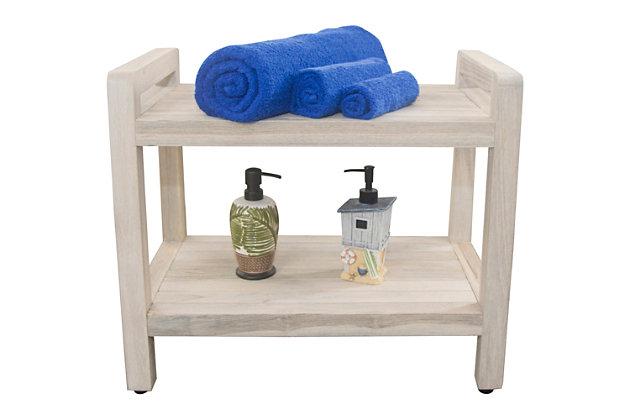 CoastalVogue Eleganto Teak Wood Shower Bench with LiftAide Arms, , large