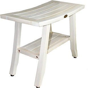 CoastalVogue Satori Teak Wood Shower Bench with Shelf, , large