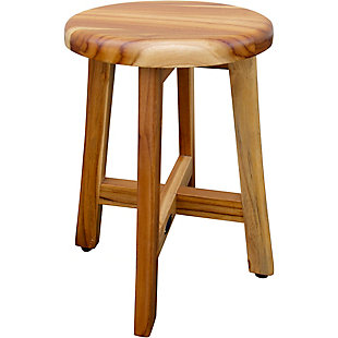 DecoTeak Shoji Teak Wood Shower Stool with Round Seat, , large
