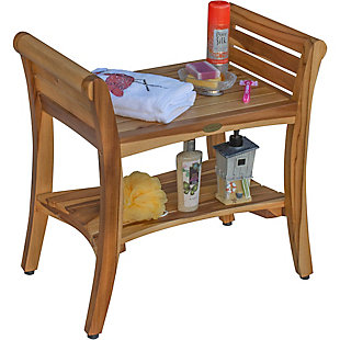 EcoDecors  Symmetry Teak Wood Shower Bench with LiftAide Arms, , large