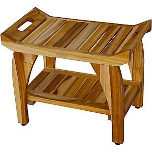 EcoDecors  Tranquility Teak Wood Shower Bench with LiftAide Arms, , large