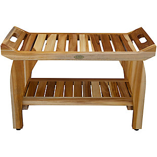 EcoDecors  Tranquility Teak Wood Shower Bench with Shelf, , rollover