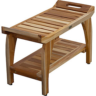 EcoDecors  Tranquility Teak Wood Shower Bench with Shelf, , large