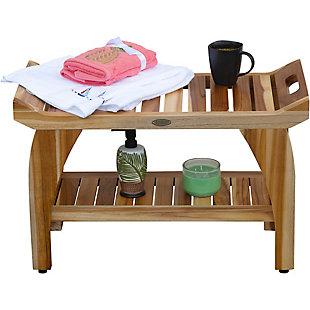 EcoDecors  Tranquility Teak Wood Shower Bench with Shelf, , large