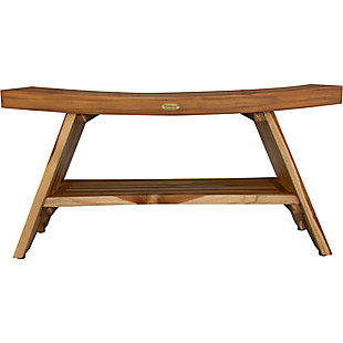 EcoDecors  Serenity Teak Wood Shower Bench with Shelf, , rollover