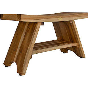 EcoDecors  Serenity Teak Wood Shower Bench with Shelf, , large