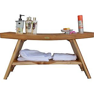 EcoDecors  Serenity Teak Wood Shower Bench with Shelf, , large