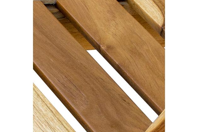 EcoDecors  Oasis Teak Wood Corner Shower Bench with Shelf, , large