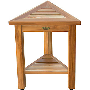 EcoDecors  FlexiCorner Teak Wood Triangular Stool with Shelf, , rollover
