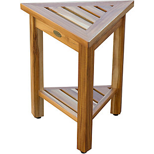 EcoDecors  FlexiCorner Teak Wood Triangular Stool with Shelf, , large