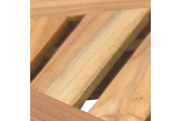 EcoDecors  FlexiCorner Teak Wood Triangular Stool with Shelf, , large