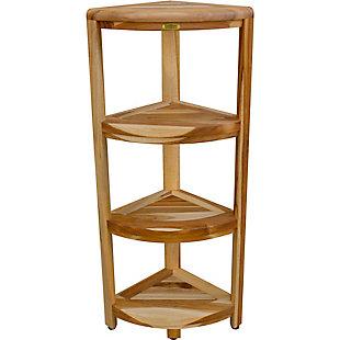 EcoDecors  Oasis Teak Wood 4-Tier Corner Shelf, , rollover