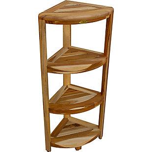 EcoDecors  Oasis Teak Wood 4-Tier Corner Shelf, , large