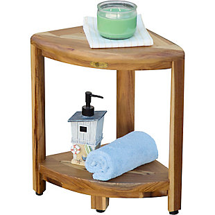 EcoDecors  Oasis Teak Wood Corner Shower Bench with Shelf, , large