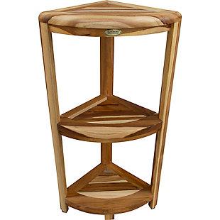 EcoDecors  Oasis Teak Wood 3-Tier Corner Shelf, , rollover