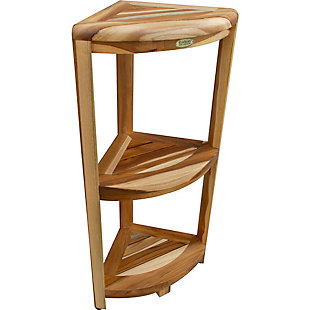 EcoDecors  Oasis Teak Wood 3-Tier Corner Shelf, , large