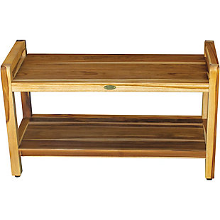 EcoDecors  Eleganto Teak Wood Shower Bench with LiftAide Arms, , rollover