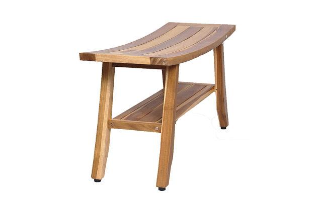 EcoDecors  Satori Teak Wood Shower Bench with Shelf, , large