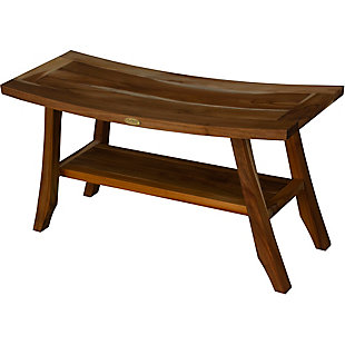 EcoDecors  Satori Teak Wood Shower Bench with Shelf, , large