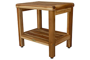 EcoDecors  Eleganto Teak Wood Shower Bench with Shelf, , large