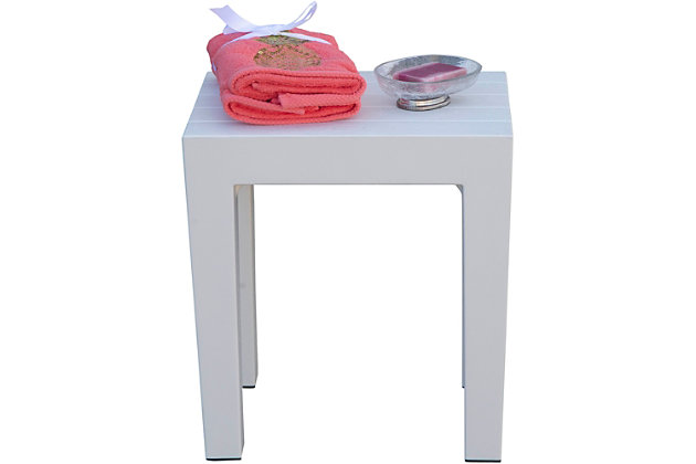 DecoTeak Design By Intent Polypropylene Plastic Shower Bench, White, large