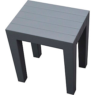 DecoTeak Design By Intent Polypropylene Plastic Shower Bench, Gray, rollover
