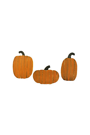 Halloween Set of Three Wood Pumpkins with Stands, , large