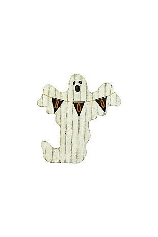 Halloween Painted Wooden Ghost with Boo Pennant, , rollover