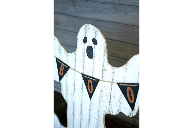 Halloween Painted Wooden Ghost with Boo Pennant, , large